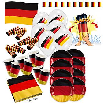 Deutschland Schland Party Set XL 56-teilig 8 Gäste Fußball Deko Partypaket