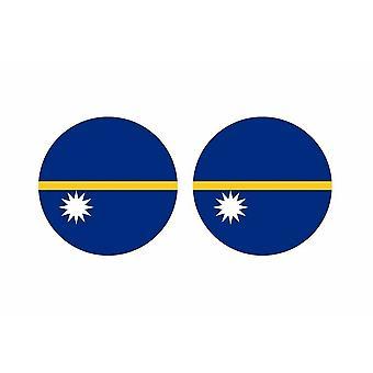 2x stick klistermärke rund cocarde flagga nauru