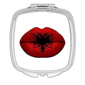 Cadeau Compact Mirror: Lips Albanais Flag Albanie