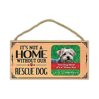 Sign, Wood, It's Not Home Without Our Rescue Dog (picture Frame), 10""