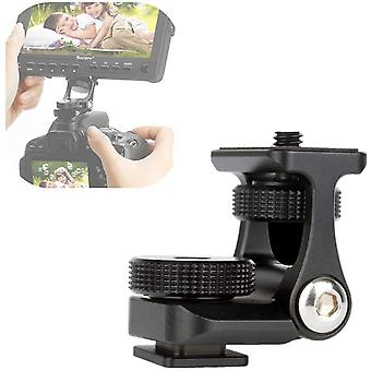 """Camera Monitor Mounting Bracket Adjustable Angle 1/4"""" Thread Ballhead Dslr Cold Shoe Adapter Attach External Microphone"""