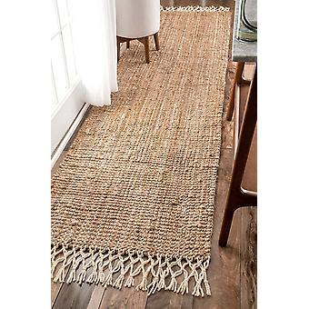 "Gerui Contemporary Hand Woven Jute with Wool Fringe Runner Rug, Natural (2' 6"" x 10' Feet)"