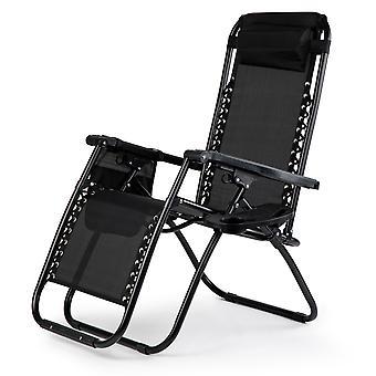 Solstol med telefonhållare – Trädgårdsstol justerbar – svart
