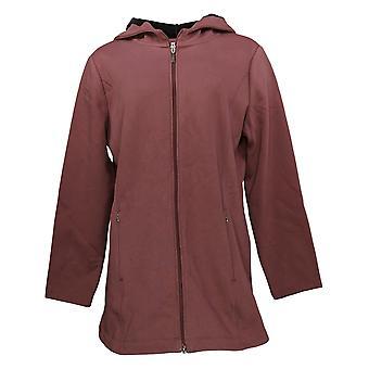 Denim & Co. Women's Fleece Back Jersey Zip Front Jacket Brown A388880