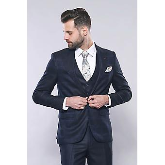 Navy blue checked suit | wessi