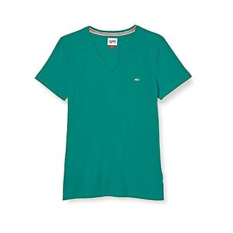 Tommy Jeans TJW Slim Jersey VN Shortsleeve Camiseta, Midwest Green, L Mujer