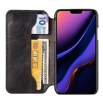 Genuine leather wallet case card slot for iphone 11promax 6.5 black on1078