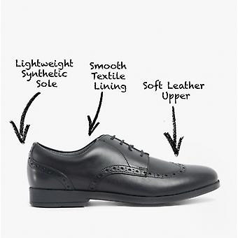 Start-Rite Brogue Snr Girls Leather Lace Up School Shoes Black