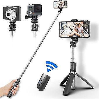 Bővíthető vezeték nélküli selfie stick állvány, telefon selfie stick Bluetooth távirányítóval (fekete)
