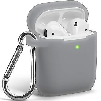 Pouzdro kompatibilní pro Apple AirPods 1 & 2 [Viditelná přední LED] Průhledná šedá (průhledná šedá)