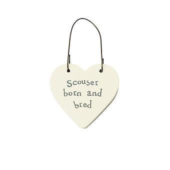 Scouser Born & Bred - Mini Wooden Hanging Heart - Cracker Filler Gift