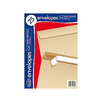 County Stationery C4 Self Seal Manilla Envelope (Pack of 25)