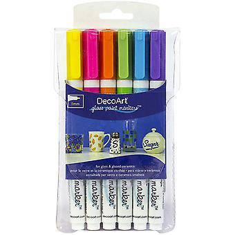 DecoArt Glasfärg markör Multi-Pack 6pc - Brights