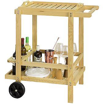 SoBuy Holz 2-Stufen-Küche Servierwagen mit abnehmbarem Tablett, FKW95-N