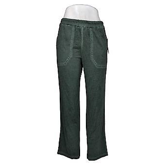 LOGO by Lori Goldstein Women's Pants Distressed Knit Wide Leg Brown A378849