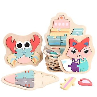 Children puzzles wooden macaron colorful animal puzzle toys toddler creative puzzle early educational toys for kids gifts toys
