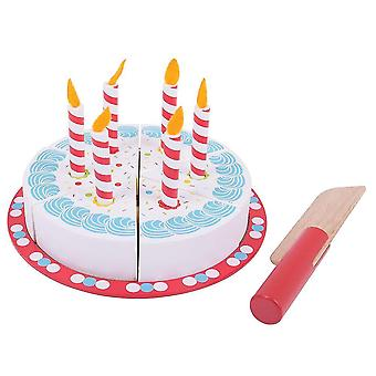Toy kitchens play food wooden birthday cake with candles - play food and role play toys