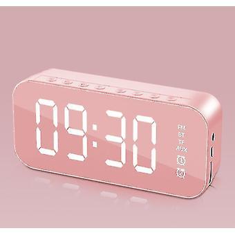 Alarm clocks multifunctional led digital alarm clock  bluetooth speaker  bedside desktop luminous pink