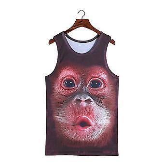 Lovely Pout Stereoscopic 3d Monkey Print Vest T-shirt Sleeveless Men Top