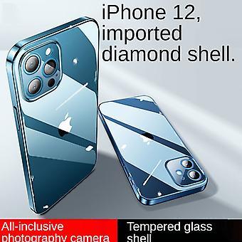 Venalisa Iphone 12pro (6,1 pouces) Verre Trou fin Étui de téléphone portable Housse de protection contre les chutes Convient pour transparent doux