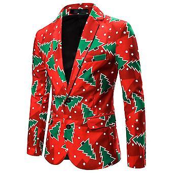 Mens Noël Tree Print Funny New Year Slim Fit Blazer