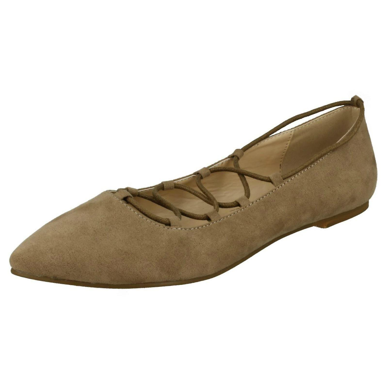 Ladies Spot On Lace Up Flats F80169 9ZyNG
