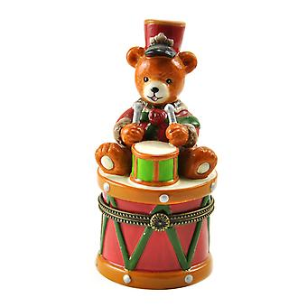 Little Drummer Teddy Bear Sitting on Drum Hinged Porcelain Trinket Box