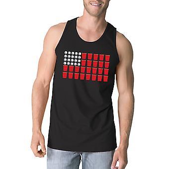 Bier Pong amerikanische Flagge Mens lustig Design Tank Tee-Geschenke für ihn