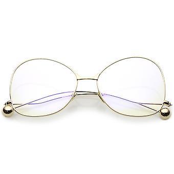 Бабочка негабаритных очки с чистой линзы и тонкие металлические рожки с акцентами мяч