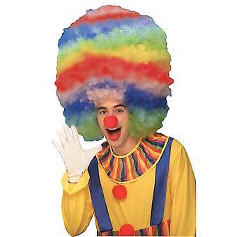 Klovn Mega Afro Fro farverige Rainbow cirkus mænd kostume paryk