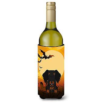 Halloween Wire Haired Dachshund Black Tan Wine Bottle Beverge Insulator Hugger