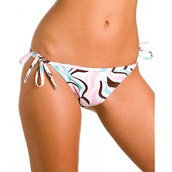 Camille Womens Ladies White And Pastel Coloured Swirl Print Tie Sided Bikini Bottoms