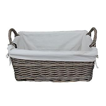 Small Shallow Lined Antique Wash Storage Wicker Basket