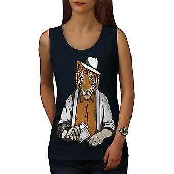 Tiger Poker Cool Gangster Women NavyTank Top | Wellcoda