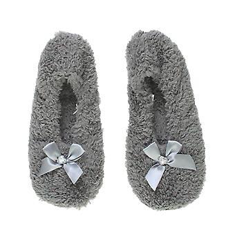 Ajvani mujeres deslizamiento elástico en zapatillas de arco de lana invierno corazón gema calcetines
