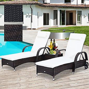 Outsunny Garden Wheeling Recliner Rattan Outdoor Adjustable Hammock Chair Drink Table Set Wicker Sun Lounger with Cushion