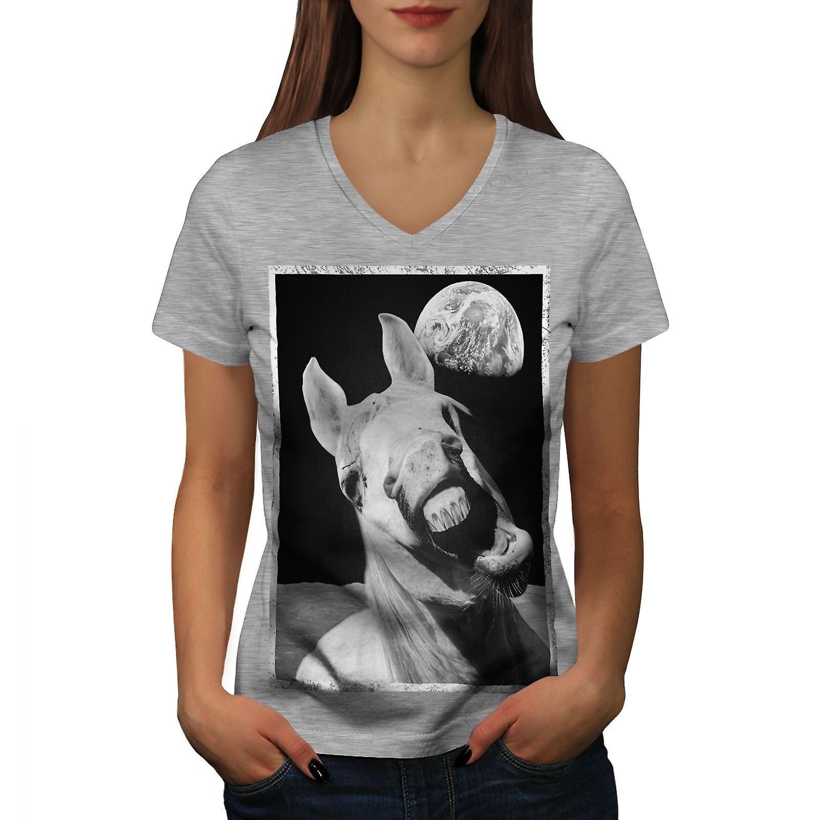 Espace femmes drôle GreyV-Neck T-shirt de cheval | Wellcoda