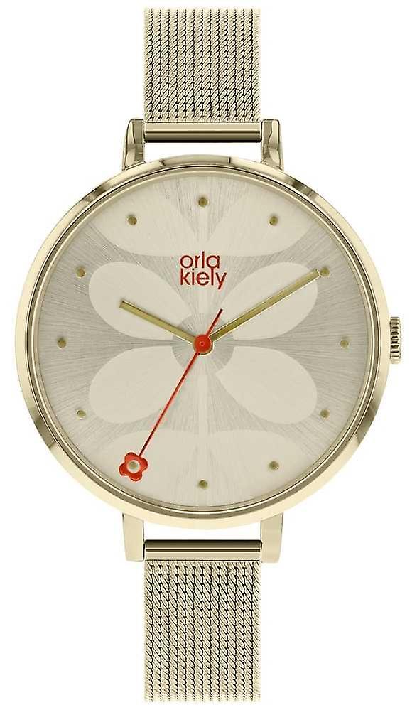 Orla Kiely Womens Large Pale Gold Case Cream Sunray Dial OK4062 Watch