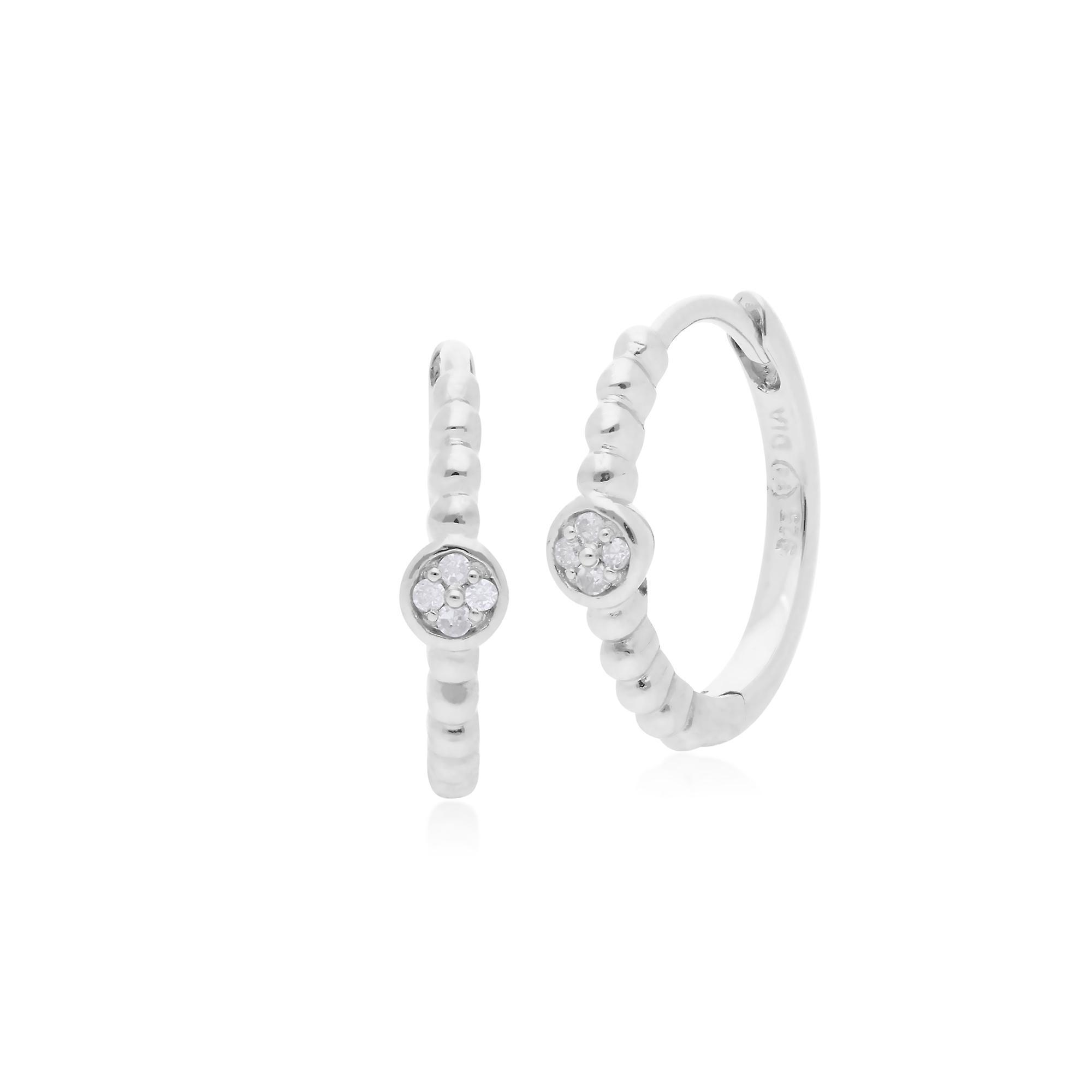 Gemondo Sterling Silver 0.03ct Diamond April Birthstone Hoop Earring