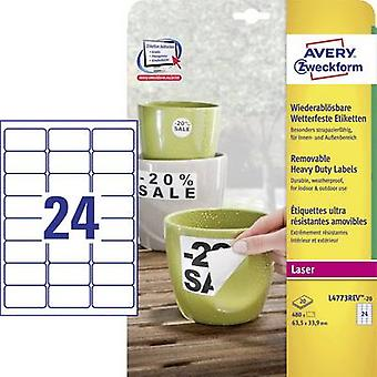 Avery-Zweckform L4773REV-20 Labels 63.5 x 33.9 mm Polyester film White 480 pc(s) Removable Address labels, Weatherproof labels