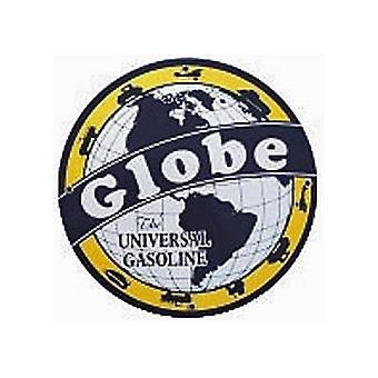 Globe benzine porselein op stalen ronde bord