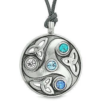 女神ケルト Triquetra 結び目保護 AmuletCircle ホワイト ロイヤル スカイブルー結晶ネックレス