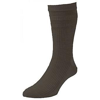 H.J Softop Wool Rich Socks - 6-11 Hombres - Marrón Oscuro
