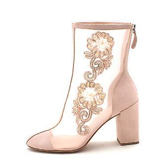 الفتيات Les Avec ريغان النسائي كاب النسيج إصبع القدم أحذية أزياء العجل منتصف