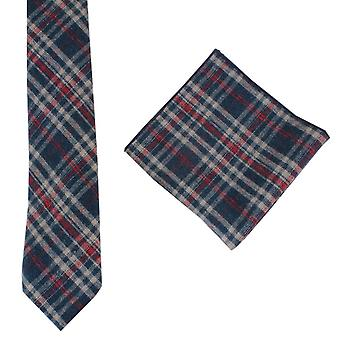 Knightsbridge Neckwear sjekk slips og Pocket Square sett - Navy/rød/Beige