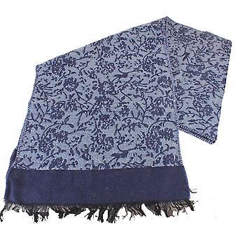 Bassin och brun Bonsai hus själv blomma ullscarf - Navy/blå