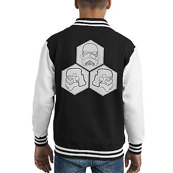 Original Stormtrooper Line Art Helmet Hexagons Kid's Varsity Jacket