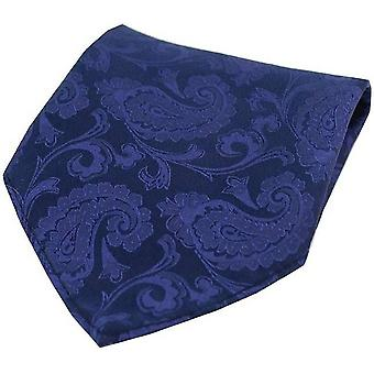 David Van Hagen Paisley Silk Pocket Square - Royal Blue