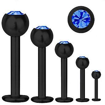 Labret Bar Tragus Piercing svart Titan 1,2, SWAROVSKI ELEMENTS Sapphire blå | 5-12 mm