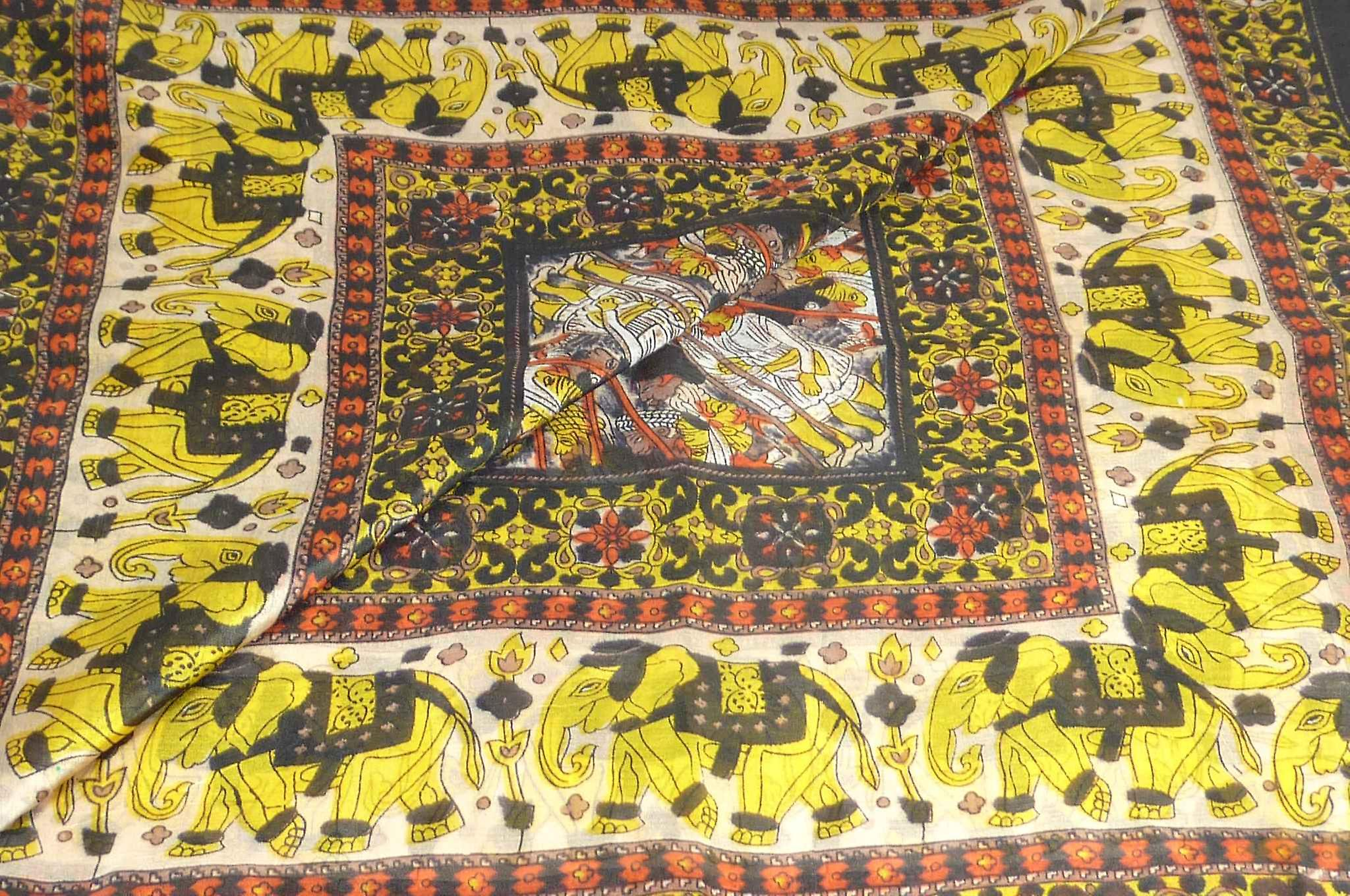 Mulberry Silk Traditional Square Scarf Usman Carnation by Pashmina & Silk
